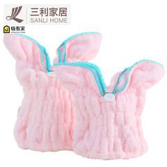 Three rabbit ears dry hair cap super absorbent dry adult children cute cartoon thickening shower cap Baotou towel Light grey