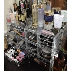 Super cosmetic box, transparent Korean plastic drawer, acrylic combination desktop finishing box, dressing table transparent