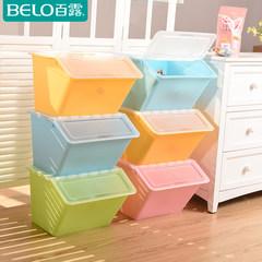 Storage box 100 rook superimposed plastic finishing box clothing storage box single thickened snacks 50*40*33 [66L] Transparent lid pink box