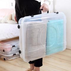 Thick bed flat clothing storage box box box transparent bed sofa bottom crack flip suitcase 50*40*28.5cm (Tuba) transparent