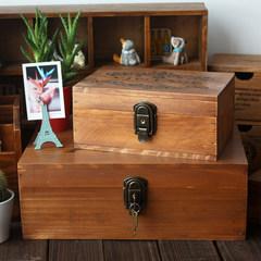 Vintage wooden box wood box with lock Zakka large wooden box wooden box A4 iPad storage Border [Retro Blue]