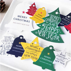 Mono style Christmas tree bell, star tag, baby handmade Christmas master chart decoration card Black and white 5 pieces / sets