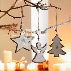 European style lovely retro Christmas tree ornaments hanging pendant children's room Star Christmas tree Snowman hanging wall sleeve three