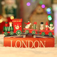 Small children Christmas gifts Christmas wooden train Halloween gifts Christmas decorations desktop decoration Colorful three trains