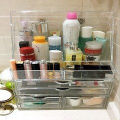 Super transparent cosmetic storage box dust clamshell skincare storage rack post desktop storage. Single pump + + 3 + double pumping pumping large clamshell box