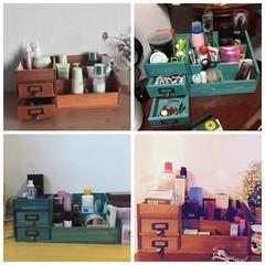 Zakka solid wood jewelry sundry storage cabinet, dormitory book, desktop drawer type cosmetic box, storage box Mediterranean Blue