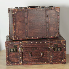American style retro brown leather suitcase, portable display box, display window, display props decorations 60*50*28.5cm (extra large) Two hundred and ninety-five