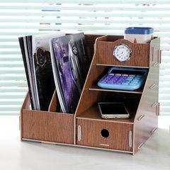 Our craftsman desktop storage box wooden bookshelf creative stationery shelf file storage rack A059 White oak