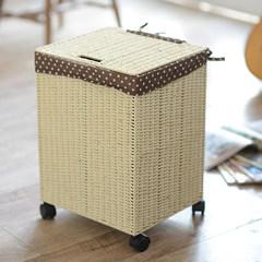 Japan made a vine papyrus cover storage box laundry basket storage basket box oversized toy box laundry basket 50*40*28.5cm (Tuba) Light beige (solid color lining)