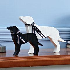 Cute cartoon creative gift set decoration wooden dog animal children room desktop decoration decoration Puppy -2 ornaments