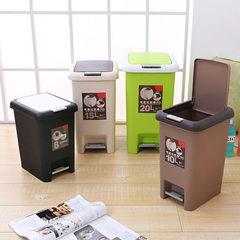 创意厨房脚踏垃圾桶家用有盖客厅卫生间按压垃圾筒厕所带盖长方形 黑色20升