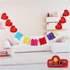 Marriage celebration activities Wedding Bridal decoration marriage room layout color cloth ribbon garland creative pull hi hi Happiness together