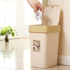 佳帮手时尚垃圾桶 客厅家用塑料长方形带盖指压垃圾桶 卫生间纸篓 咖啡色