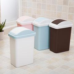 客厅卧室厨房卫生间带盖垃圾桶家用 创意塑料翻盖垃圾桶纸篓小号 粉红色小号