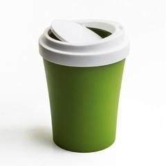 泰国 Qualy 进口塑料带翻盖家用垃圾桶圆垃圾桶垃圾箱 咖啡色