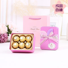 Exclusive wedding candy boxes finished sugar wedding Ferrero Rocher chocolate 6 single pack candy products 6 FERRERO ROCHER (tote bags) gules
