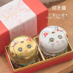 Fanny van limited Lucky Cat tinplate candy boxes souvenir gift tea honey full moon gift for mother's Day New gift gift bag hand Oh ~! Lucky Cat capsule tin gift set