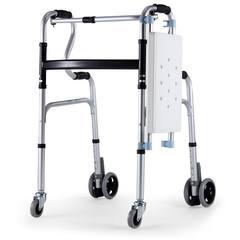 便携老年人四脚拐杖手推车学步车老人助行器简易小轮椅可折叠轻便 浅灰色