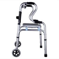 老年人走路助行器手扶架拐棍老人手杖四脚助行拐扙辅助椅凳多功能 深灰色