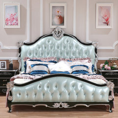 European style leather solid wood double bed, 1.8 meter luxury American bed, new classical wedding bed, princess bed, bedroom furniture 1500mm*2000mm white Frame structure