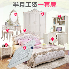 Master bedroom, European style bed, double bed, 1.8 meters European style furniture, white pastoral princess, bed marriage bed, high box European style bed 1500mm*2000mm Champagne bed Frame structure