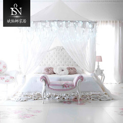European white wedding bed in the 1.8 meter butterfly princess bed wood carved bed cloth girl bed can be customized furniture bin. 1500mm*2000mm Cloth art bed Integrated rack bed