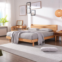 Nordic solid wood bed Japanese double bed, 1.8 meters master bedroom wedding bed, modern simple small family, oak bed 1.5 meters 1500mm*2000mm Single bed Frame structure