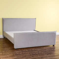 [] in good clearance odd grey cotton soft Yazd low back bedroom bed 1.8 meters Other Milky white Assembled rack bed