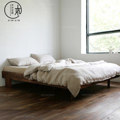 Nordic solid wood bed, wood wax, environmental protection bed, simple Japanese style full solid oak bed, black walnut log double bed 1500mm*2000mm Red oak Frame structure