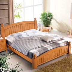 德国红榉木现代卧室家具全实木成人双人床实木床特价包邮LB20 1500mm*1900mm 榉木双人床 其他结构