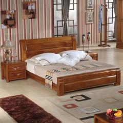 全实木1.8米双人床 现代新中式榆木床 1.5米卧室家具高箱储物婚床 1500mm*2000mm 标配升降【裸床】不含床头柜 框架结构