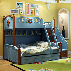 The children bed bed height bed mother girl princess bed solid wood bunk multifunctional double bed 1200mm*1900mm High-low bed + ladder cabinet More combinations
