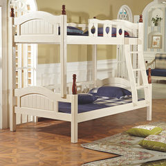 Mediterranean all solid wood white wood, high and low bed, American children, Shahara Kiko mother bed, bunk bed, bunk bed 1200mm*1900mm High-low bed + bookshelf Only high and low beds