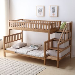Nordic double bed, all solid wood out of bed multi function step ladder, double bed, provincial space, 1.35M white oak bed 1350mm*2000mm Double bed with step ladder Bed + ladder cabinet