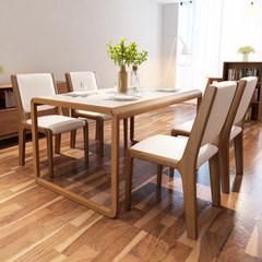 北欧大理石餐桌日式长方形实木小户型6人创意餐桌椅组合 现代简约 一桌六椅