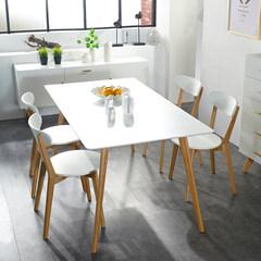 联隆长方形餐桌椅组合现代简约小户型实木4人6人餐桌北欧家用饭桌 1.6一桌四椅