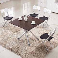 家装节【一桌四椅】日式气控升降折叠餐桌椅组合 茶几餐桌两用 白色烤漆+黑白 一桌四椅 其他结构