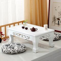 Shipping imitation ancient elm wood carved tatami Piaochuang Taiwan coffee table modern minimalist platform short tea table white Ready