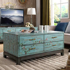 American country hand-painted coffee table Mediterranean high-grade coffee table living room 8 double bucket storage table new hot tea Kung Fu Ready Blue green painting