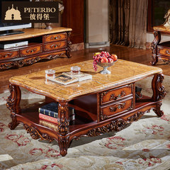 European style solid wood carved tea table, American natural marble living room, coffee table, TV cabinet combination with 1.38 meters drawer Ready 1.38*0.8 meter tea table [wooden noodles]
