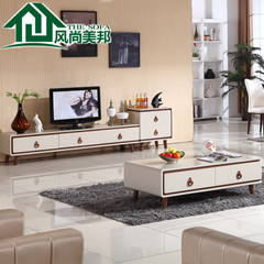 Nordic coffee table TV cabinet combination, simple modern living room, small apartment, toughened glass coffee table, TV cabinet Ready Coffee table + TV cabinet