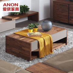 Nordic style solid wood tea table, living room modern simple, long storage function, size, black walnut furniture Ready (1.46 meters) walnut color