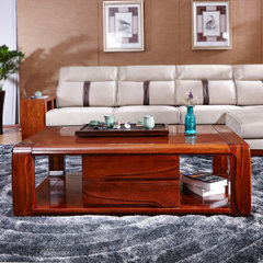 Modern simple solid wood tea table, walnut walnut store small apartment, new Chinese living room, all solid wood furniture suite Ready Walnut material