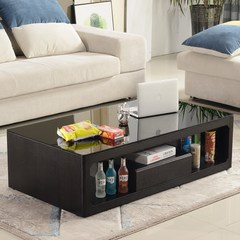Product friendly tempered glass coffee table, TV cabinet combination small family set fashion black modern simple coffee table Assemble Preferred quality 1400*800*380mm