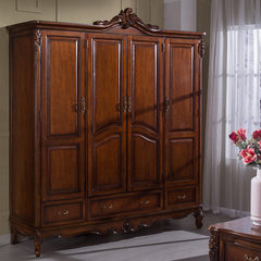 American country all solid wood wardrobe, sliding door, integral cupboard, wooden carved four lockers
