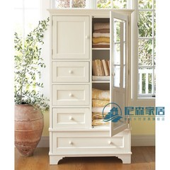 Next to retro, simple American style rural style, idyllic Mediterranean solid furniture, two wardrobe lockers Pure wood (color memo) 2 door Assemble