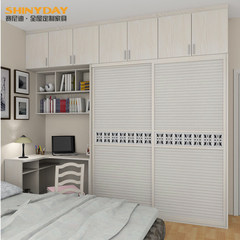 Saindi Hangzhou custom wardrobe with Corner desk wardrobe sliding door sliding door wardrobe custom installation package E0 grade solid wood particle board / expansion area 2 door Assemble
