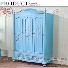 简式469美式乡村仿古彩绘实木框架三门衣柜欧式热卖做旧家具衣橱 定做成套色 3门 组装