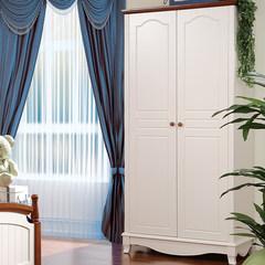地中海象牙白实木整体衣柜 地中海田园简易家具衣柜 两门衣橱 图片色 2门 组装