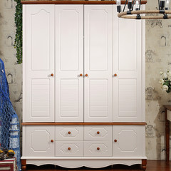 衣柜卧室家具整体板式衣柜四门木质大衣橱实木地中海衣柜欧式衣柜 图片色 4门 组装